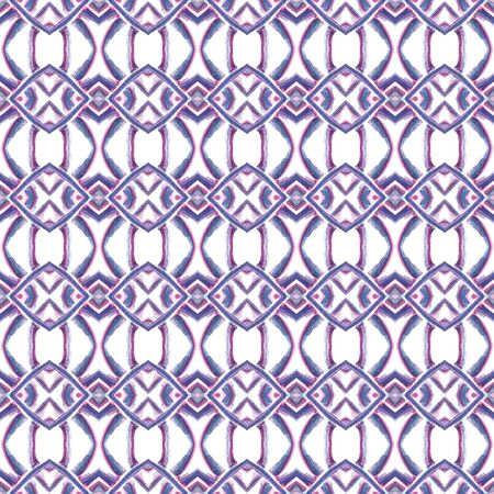 Tribal Art. Endless Repeat Painting.  Eastern, Mandala, Medallion, Floral Ornament. Geo Texture. Native Folklore Home Decor. Purple, Pink Mosaic. Chevron Element.