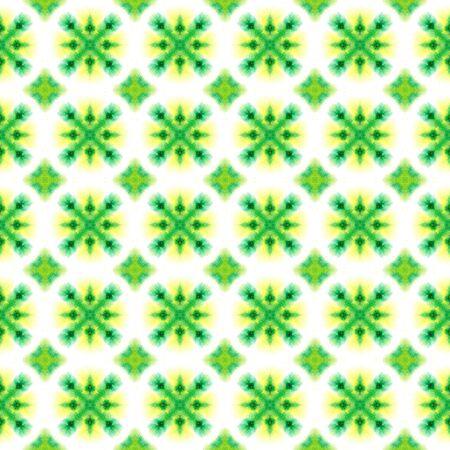 Geo Art. Endless Repeat Painting.  Mandala, Medallion, Floral, Flower Ornament. Tribal Texture. Ethnic Folklore Home Decor. Yellow, Green Motif. Woven Design.