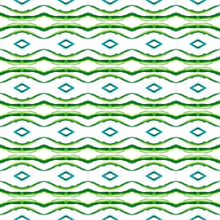 Traditional Graphic Hand Drawn Painted.  Celtic, Polish, Balto-Slavic Seamless Pattern. Traditional Surface. Traditional Bed Linen. Blue, Green Texture. Chevron Tile.