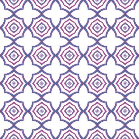 Traditional Art. Hand Drawn Painted. Turkish, Arab, Arabesque, East Seamless Pattern. Traditional Graphic. Traditional Tribal Woven. Purple, Pink Tile. Stripes Design. Zdjęcie Seryjne