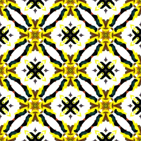 Tribal Art. Endless Repeat Painting.  American Navajo, Cherokee Ornament. Ethnic Surface. Traditional Carpet. Yellow, Green Watercolor. Woven Art.