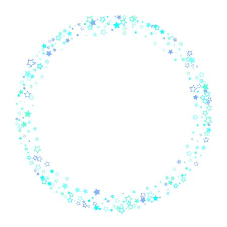 Blue, cyan, turquoise glitter stars, shiny confetti. Scattered little sparkling, glitter elements. Random stellar falling on white background. New Year Christmas background. Vector illustration.
