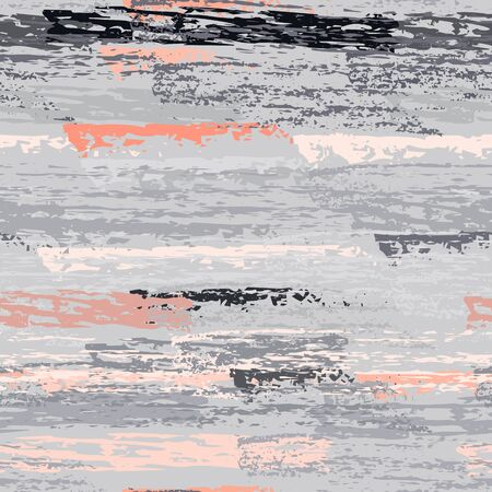 Horizontal  Brush Stroke Surface. Pinstripe Endless Repeating Elements. Creative Chalk Print. Pink and Gray Backdrop. Abstract Charcoal Surface. Brush Vector Background. Ilustracja