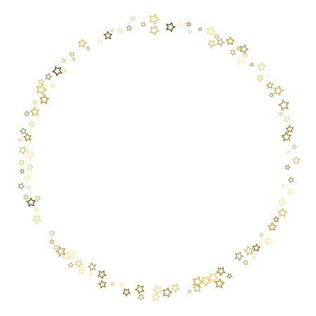 Gold Glitter Stars. Luxury Shiny Confetti. Scattered little sparkle. Flash glow silver, elements. Random magic tiny light. Gold stellar fall white background. New Year, Christmas Vector illustration. Ilustracja