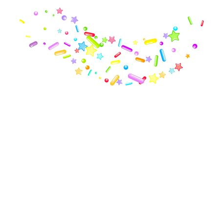 Sprinkles grainy. Cupcake donuts, dessert, sugar, bakery background. Sweet confetti on white chocolate glaze background. Vector Illustration sprinkles holiday designs, party, birthday, invitation. Ilustracja