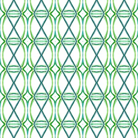 Traditional Graphic Hand Drawn Painted.  Talavera, Tunisian, Turkish, Arab Seamless Pattern. Modern Abstract. Modern Folklore Wallpaper. Blue, Green  Motif. Natural Art. Imagens