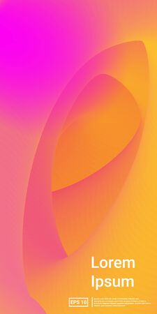 Fluid Dynamic Shape. Pink, Orange, Yellow, Creative Template Minimal Dynamic Web Applications. Mobile Vertical Flyer. Vector Template Design.  Futuristic, Technology, Screen Concept. Ilustracja