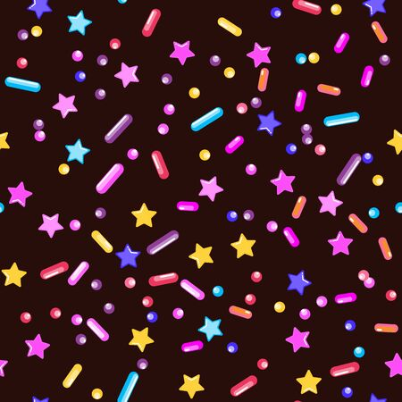 Sprinkle Candy. Sprinkles Grainy. Seamless Pattern. Sweet Confetti Background.  Candy Dessert Background. Design Invitation Holiday, Party, Birthday. Colorful Confectionery Illustration. 일러스트
