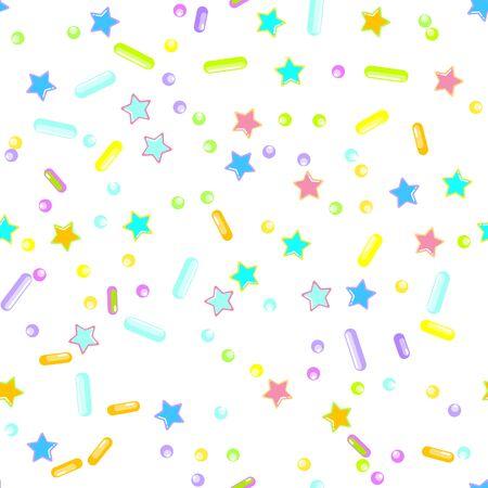 Sprinkle confetti. Sprinkles Grainy. Seamless Pattern. Sweet Confetti Background.  Sprinkle confetti. Design Invitation Holiday, Party, Birthday. Sparkle Pastry Print.