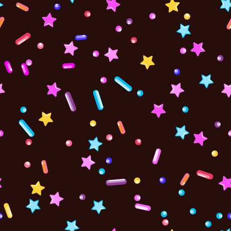 Sprinkle Candy. Sprinkles Grainy. Seamless Pattern. Sweet Confetti Background.  Candy Dessert Background. Design Invitation Holiday, Party, Birthday. Delicious Confectionery Illustration.
