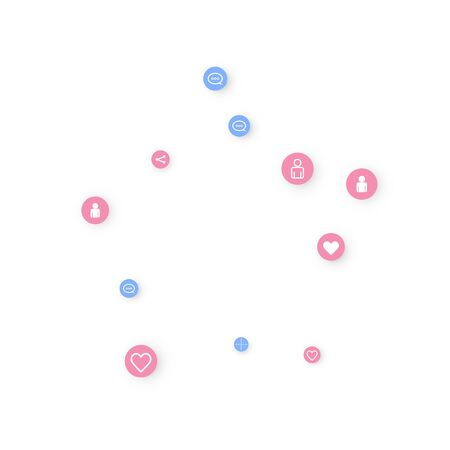 Social media marketing, Communication networking concept. Random icons social media services tags linked on white background. Comment, friend, like, share, target, message. Vector Internet concept. Çizim