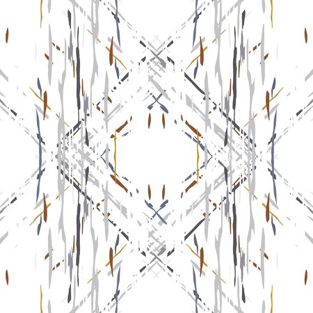Spots, Ikat. Tie Dye, Batik. Seamless Pattern. Geometric Surface. Hand Drawn Painted. Gray Yellow Folk Old Folklore Textile. Geometry Woven Tie dye Pattern. Vektorové ilustrace