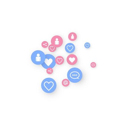 Social media marketing, Communication networking concept. Random icons social media services tags linked on white background. Comment, friend, like, share, target, message. Vector Internet concept. 일러스트