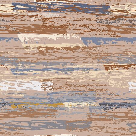Grunge Dry Paint Surface. Stripy Crayon Pencil Strokes. Seamless Pattern. Sport Chalk Pattern. Khaki and Camo Backdrop. Swipe Charcoal Texture Surface. Dirty Brush Vector Background.