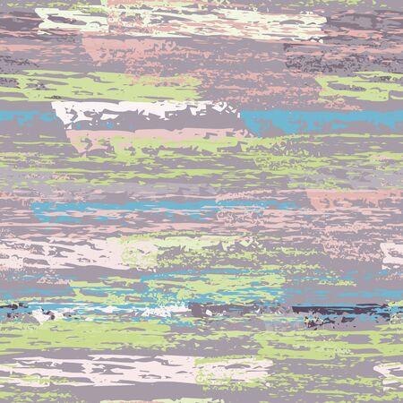 Hand Drawn Grunge Surface. Stripy Chalk Coal Pattern. Seamless Pattern. Chalk Trends Motif. Sport Khaki and Camo Backdrop. Art Background Surface. Brush Vector illustration.