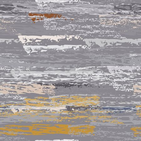 Hand Drawn Grunge Surface. Stripy Chalk Coal Pattern. Seamless Pattern. Summer Chalk Trends Motif. Khaki and Camo Backdrop. Art Background Surface. Brush Vector illustration.