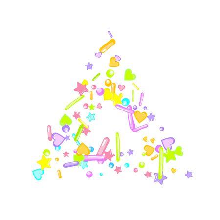 Sprinkles grainy. Cupcake donuts, dessert, sugar, bakery background. Sweet confetti on white chocolate glaze background. Vector Illustration sprinkles holiday designs, party, birthday, invitation. Archivio Fotografico - 133223276