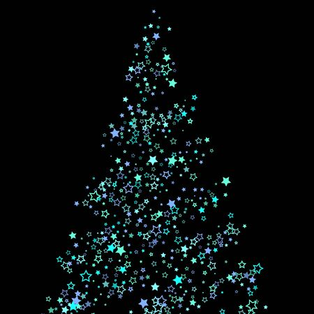 Blue, cyan, turquoise glitter stars, shiny confetti. Scattered little sparkling, glitter elements. Random stellar falling on black background. New Year Christmas background. Vector illustration.  イラスト・ベクター素材