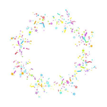 Sprinkles grainy. Cupcake donuts, dessert, sugar, bakery background. Sweet confetti on white chocolate glaze background. Vector Illustration sprinkles holiday designs, party, birthday, invitation. Archivio Fotografico - 133282494
