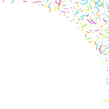 Sprinkles grainy. Cupcake donuts, dessert, sugar, bakery background. Sweet confetti on white chocolate glaze background. Vector Illustration sprinkles holiday designs, party, birthday, invitation. Archivio Fotografico - 133371089