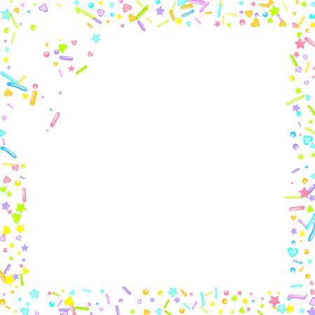 Sprinkles grainy. Cupcake donuts, dessert, sugar, bakery background. Sweet confetti on white chocolate glaze background. Vector Illustration sprinkles holiday designs, party, birthday, invitation. Archivio Fotografico - 133371099