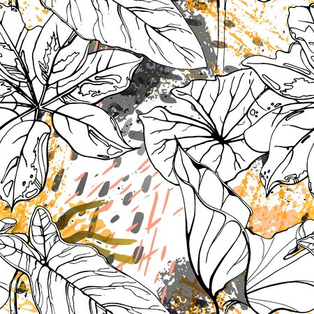 Floral Black and White Pattern. Yellow Artistic Watercolor Print. Outline Flowers Seamless Surface. Botanical Vector Motif. Bloom Texture For Fashion. Drawing Abstract Leaf. Trends Tropic Background. Illustration