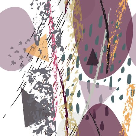 Collage Contemporary Vector Textures. Seamless Pattern. Artistic Crayon Modern Strokes Surface. Chalk Grunge Dirty Dry Distress Hand Drawn Pastel. Summer Bright Dry. Chaotic Triangle Shape Collage.