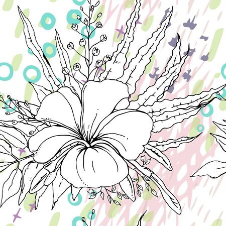 Artistic Creative Tropical Motif. Black and White Modern Summer Flowers on Abstract Marker Strokes Shape. Sketch Floral Elements. Hand Drawn Artistic Watercolor Background. Vector Seamless Pattern.