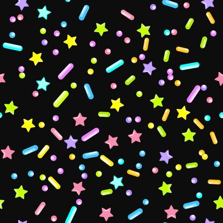 Sprinkle Candy. Sprinkles Grainy. Seamless Pattern. Sweet Confetti Background.  Candy Dessert Background. Design Invitation Holiday, Party, Birthday. Rainbow Pastry Print. Archivio Fotografico - 133371123