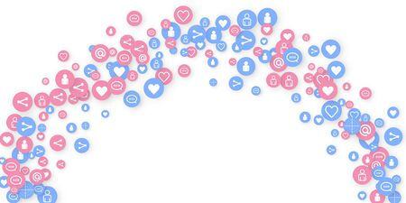 Social media marketing, Communication networking concept. Random icons social media services tags linked on white background. Comment, friend, like, share, target, message. Vector Internet concept. Illusztráció