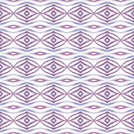 Geo Art. Endless Repeat Painting.  Tunisian, Turkish, Arab, Arabesque Ornament. Geo Surface. Geo Tribal Cloth. Purple, Pink Watercolor. Chevron Motif.