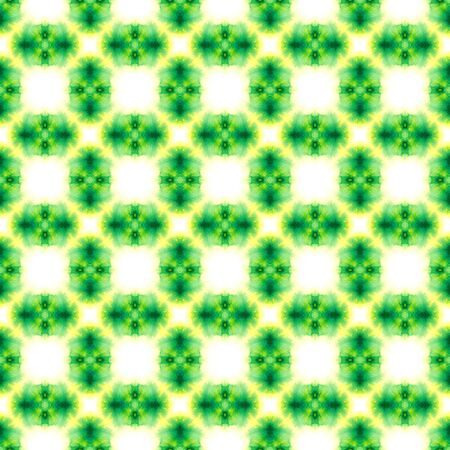 Geo Geometric, Endless Repeat Painting.  Gypsy, Mediterranean, South, East Ornament. Geo Art. Summer Tribal Wallpaper. Yellow, Green Design. Geometry Element. Stock Photo - 133493771