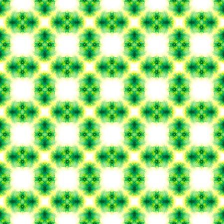 Geo Geometric, Endless Repeat Painting.  Gypsy, Mediterranean, South, East Ornament. Geo Art. Summer Tribal Wallpaper. Yellow, Green Design. Geometry Element. Stock Photo