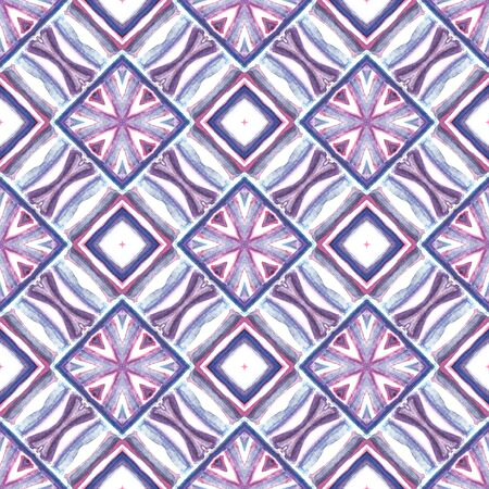 Geo Surface. Endless Repeat Painting.  Islam, Orient, Spanish, Talavera Ornament. Chevron Geometric. Geo Ancient Wallpaper. Purple, Pink Print. Chevron Ornament. Stock Photo - 133493704