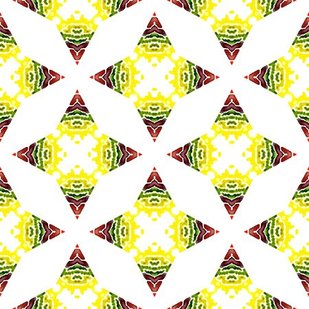 Tribal Art. Endless Repeat Painting.  Eastern, Mandala, Medallion, Floral Ornament. Geo Surface. Ancient Ethnic Textile. Burgundy, Green Pattern. Chevron Pattern.