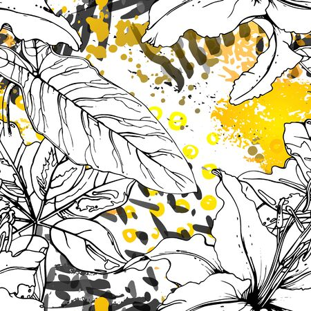 Floral Black and White Pattern. Yellow Artistic Watercolor Print. Outline Flowers Seamless Surface. Botanical Vector Motif. Bloom Texture For Fashion. Drawing Abstract Leaf. Trends Tropic Background. Stock Vector - 133493999