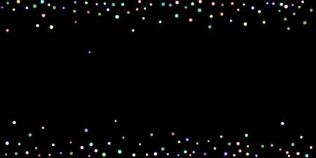Rainbow stars, iridescent sprocket, shiny confetti. Scattered little sparkling, glitter balls, circles. Random stellar falling on black background. New Year Christmas background. Vector illustration.
