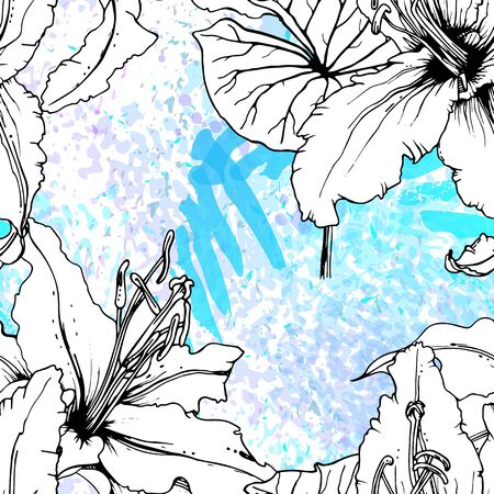 Floral Black and White Pattern. Blue Artistic Watercolor Print. Outline Flowers Seamless Surface. Botanical Vector Motif. Blooming Texture For Fashion. Drawing Abstract Leaf. Trends Tropic Background. Stock Vector - 133494001