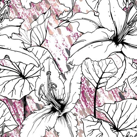 Floral Black and White Pattern. Pink Artistic Watercolor Print. Outline Flowers Seamless Surface. Botanical Vector Motif. Blooming Texture For Fashion. Drawing Abstract Leaf. Trends Tropic Background. Illustration