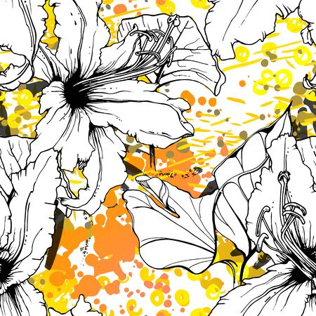Floral Black and White Pattern. Yellow Artistic Watercolor Print. Outline Flowers Seamless Surface. Botanical Vector Motif. Bloom Texture For Fashion. Drawing Abstract Leaf. Trends Tropic Background. Stock Vector - 133494005