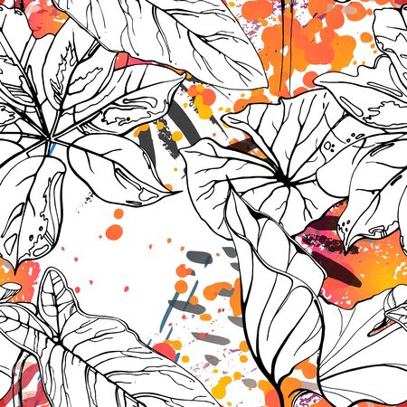 Floral Black and White Pattern. Pink Artistic Watercolor Print. Outline Flowers Seamless Surface. Botanical Vector Motif. Blooming Texture For Fashion. Drawing Abstract Leaf. Trends Tropic Background. Stock Vector - 133494008