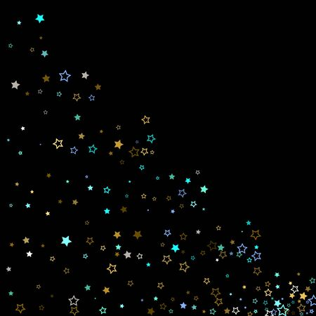 Stars Confetti. Gold, Blue stars, shiny confetti.  Scattered little sparkling, glitter star. Random stellar falling on black background. New Year Christmas background. Vector illustration.