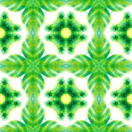 Watercolor Surface. Endless Repeat Painting.  Baltic, Slavic, Pagan, Northern, Ornament. Ethnic Texture. Summer Linen. Yellow, Green Pattern. Geometrical Surface. Stockfoto
