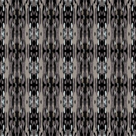 Paint Texture. Shibori, Staining Ornament. Geo Art. Endless Repeat Painting.  Black Gray Folklore Geo Old Rug.  Woven Staining Shibori Art.