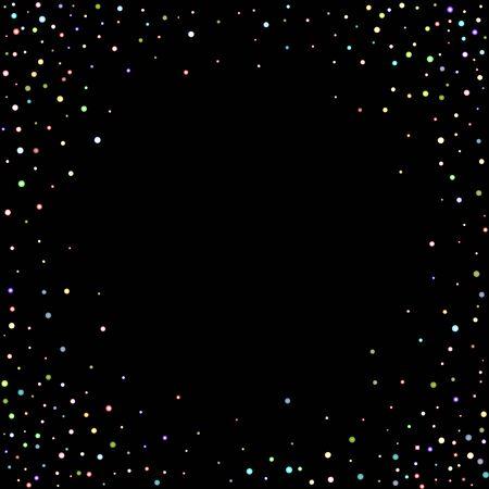 Glitter Iridescent Stars. Holographic Sparkle Fall Confetti. Rainbow Sprocket, Shiny Little, Balls, Circles. Random Stellar Falling Black Background. New Year Scattered Christmas Vector illustration.  イラスト・ベクター素材