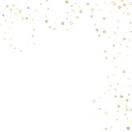 Gold Glitter Stars. Luxury Shiny Confetti. Scattered little sparkle. Flash glow silver, elements. Random magic tiny light. Gold stellar fall white background. New Year, Christmas Vector illustration.  イラスト・ベクター素材