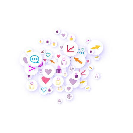 Social media marketing, Communication networking concept. Random icons social media services tags linked on white background. Comment, friend, like, share, target, message. Vector Internet concept. Ilustração
