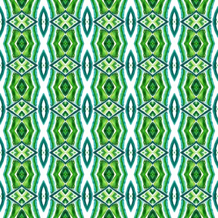 Geo Art. Endless Repeat Painting.  Talavera, Azulejos, Spain, Islam, Arabic Ornament. Geo Geometric. Vintage Home Decor. Blue, Green  Design. Herringbone Design. Standard-Bild - 133681781
