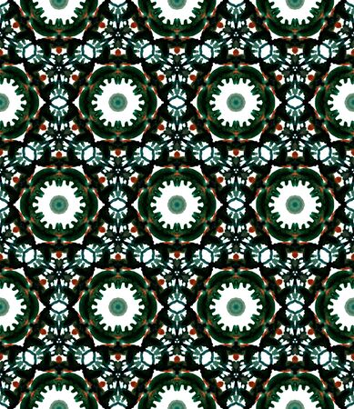 Geo Geometric, Endless Repeat Painting.  Gypsy, Mediterranean, South, East Ornament. Modern Abstract. Summer Native Cloth. Green, Mint,  Surface. Stripes Mosaic. Standard-Bild - 133681777