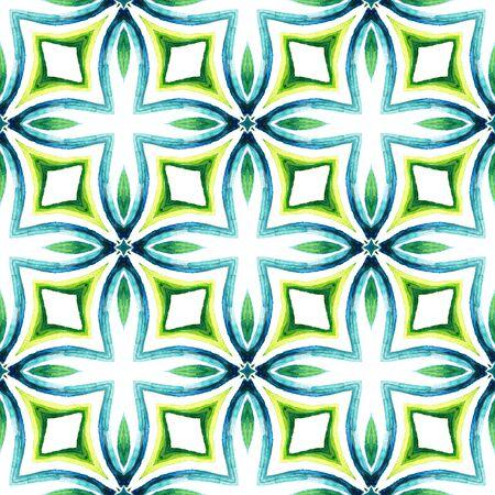 Geo Surface. Endless Repeat Painting.  Talavera, Azulejos, Portugal, Turkish Ornament. Tribal Texture. Ancient Woven. Blue, Green  Watercolor. Geometry Ornament. Standard-Bild - 133681783